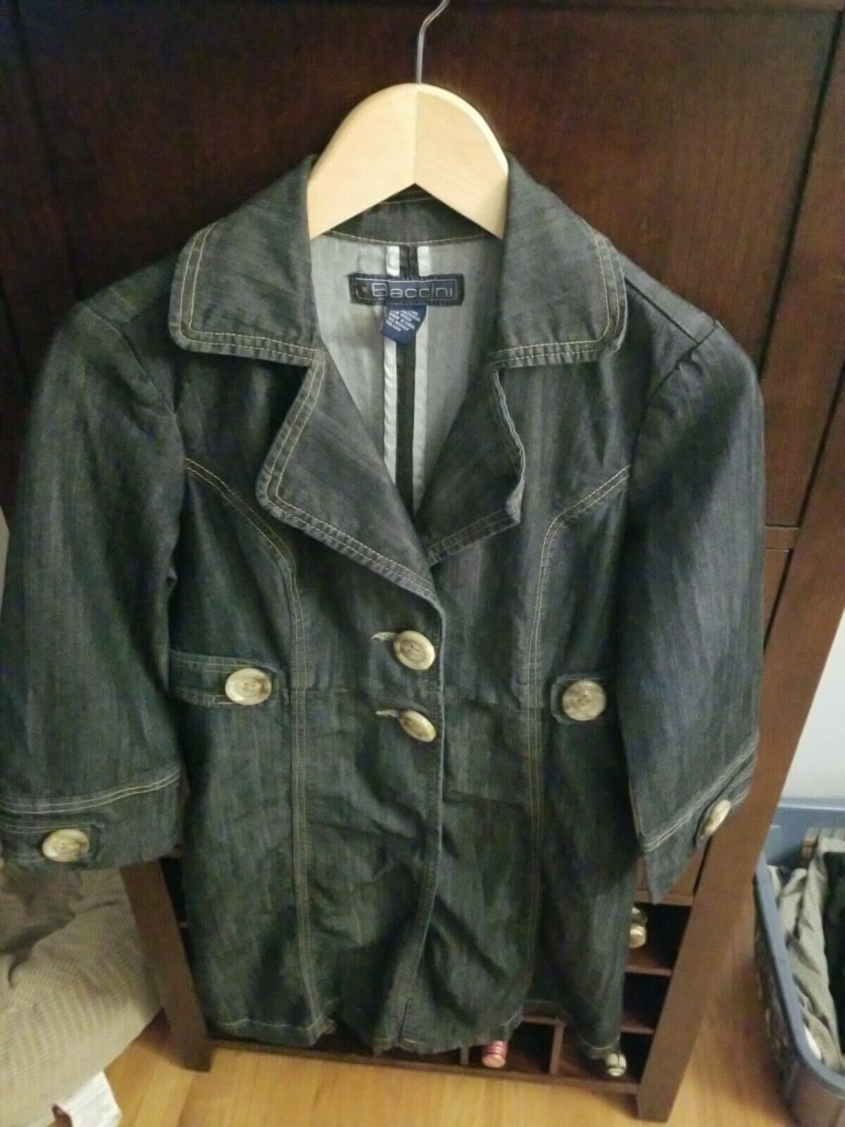 Baccini Blue Jean Jacket Two Button Down 3/4 Sleeve Pockets Women Size Small
