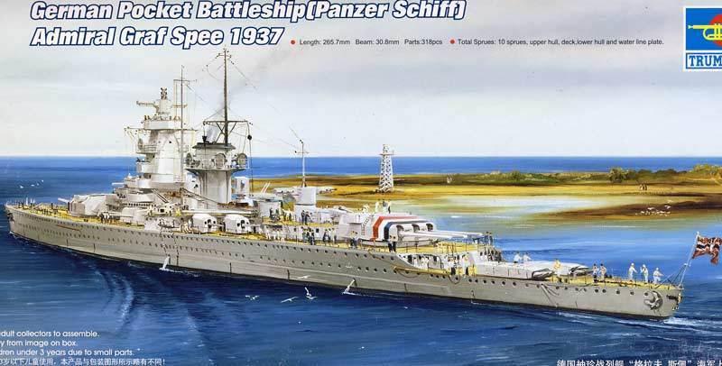 Trumpeter Battle Ship Admiral Graf Spee 1937 Set 1 700 Model Kit New Set