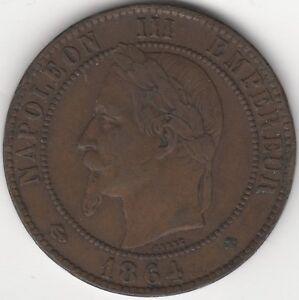 1864-BB-France-Napoleon-III-Empereur-10-Centimes-European-Pennies2Pounds