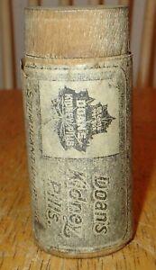 Early Vintage / Antique Doan's Kidney Pills Wooden Advertising Bottle w/ Lid