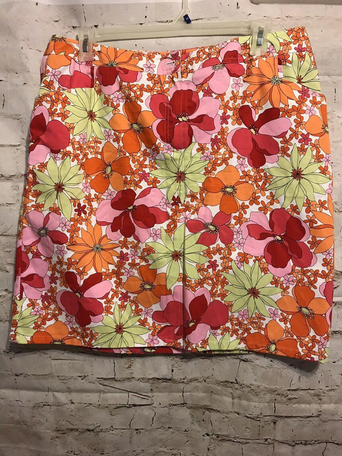 Talbots Skirt 16W Woman Petites A line Floral Design 100% Cotton Lined Side Zip
