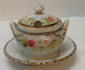 Condiment-Dish-Sugar-Bowl-Salts-Bottom-Plate-Pink-Flowers-Gold-Accent-Vintage