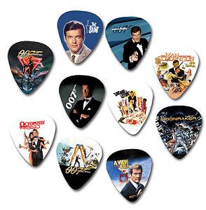 James Bond Roger Moore 007 Roger Moore printed plectrum guitar pick picks x10