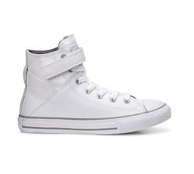 Girls Boys Juniors CONVERSE CTAS BREA HI White Leather Trainers ...