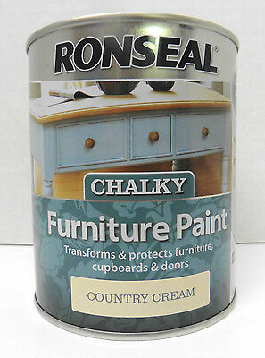 Ronseal Chalky Finish Furniture Paint - 750ml - COUNTRY CREAM - No Need To Wax