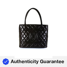Chanel Quilted Leather Medallion Tote Handbag Chocolate Brown Gold Tone Hardware