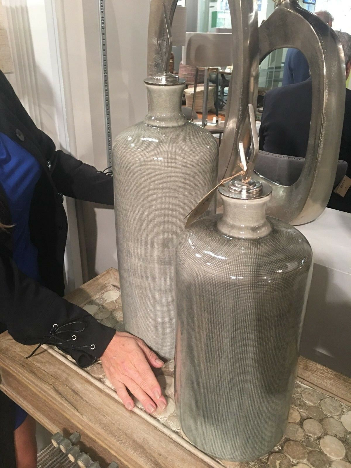 Dos XXL 23  20  Malla con textura de cerámica decorativa urnas Jarrones Metal remate Tapas