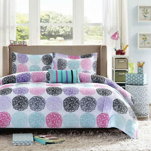 set white blue pink print lilac purple and fine floral yellow comforter