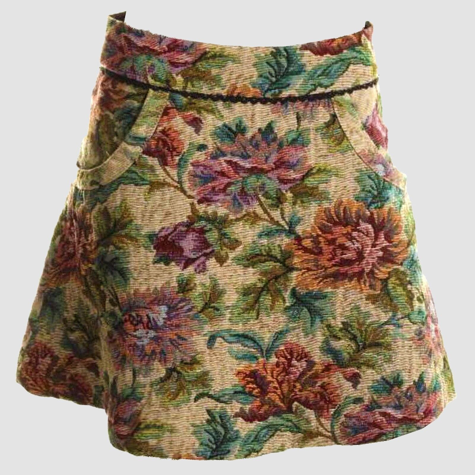 NWT FREE PEOPLE Brocade Gobelin Jacquard Textured Floral  Print A-Line Skirt  98