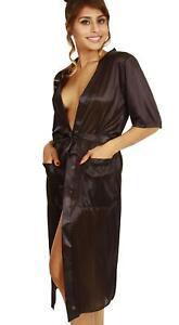 morgenmantel kimono lang satin seidig gl nzend leicht transparent schwarz xs s. Black Bedroom Furniture Sets. Home Design Ideas