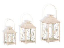 Laterne m. Herz 3er Set Windlicht Gartendeko Kerze Teelicht Teelichthalter creme