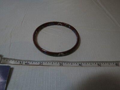 Cloisonne vintage bangle bracelet brown green gold ceramic inside and out RARE