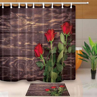 Floral Flower Shower Curtain set Rose With Dark Brown Wooden Bathroom Curtain