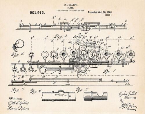 1908 Julliot Flute Drawing Illustration Patent Art Print Poster Gift Ideas