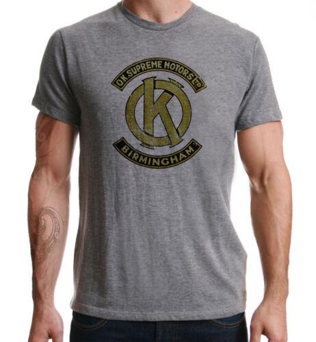 OK Supreme Motors Retro Print Biker Motorcycle Vintage Motorbike Grey T-Shirt