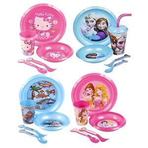 kids 5 piece disney breakfast dinner lunch supper plate bowl cup
