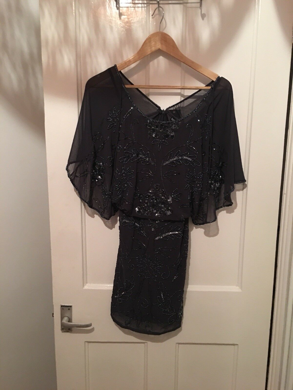 BNWT Boohoo Size 8 Navy Sequin Peplum Dress