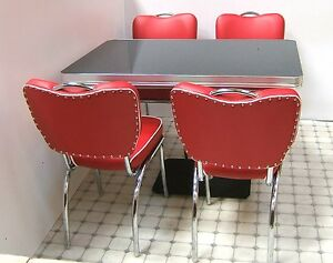 retro 50s us diner furniture kitchen table 4 chairs restaurant seating
