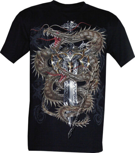 3XL New Chinese Dragon Glow in the Dark Gothic Sword Skull Tattoo T-Shirt M