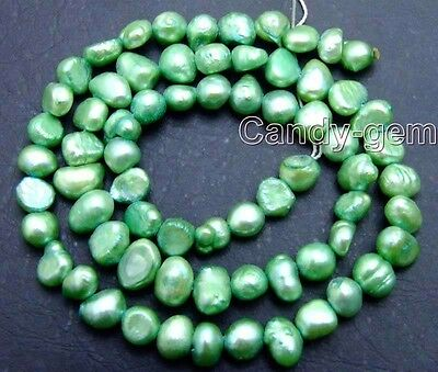 """5-6mm Natural Green Freshwater BAROQUE Pearl Loose Beads for Jewelry Making 14"""""""