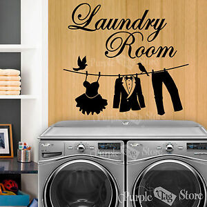 Image Is Loading Laundry Room Clothesline Vinyl Art Home Wall Quote  Part 4