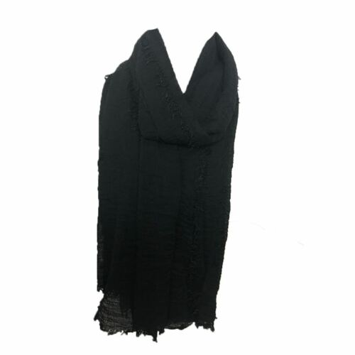 Womens soft touch hijab maxi crinkle fringe edge headscarf