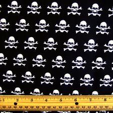 ☠️MINI SKULLS 100% COTTON FABRIC Black White Goth Pirate Crafts Clothing