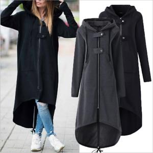 Plus-Size-Womens-Long-Hooded-Coat-Zipper-Hoodie-Jacket-Tops-Casual-Cardigan-8-22