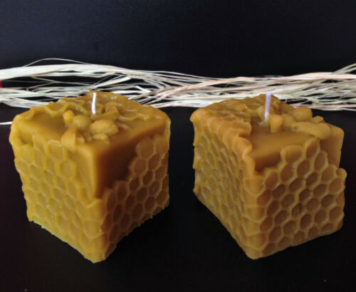 2 PCS NATURAL HANDMADE BEESWAX CANDLES