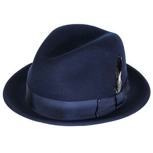 b7ec033d8a854 Image is loading Bailey-Hats-Tino-Crushable-Felt-Trilby-Navy
