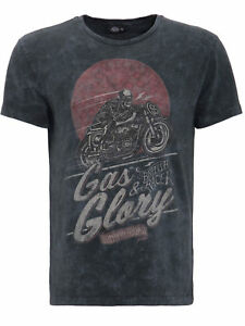 King-Kerosin-T-Shirt-Gas-And-Glory-Rockabilly-Rocknroll-Grau-Used-Look-5022