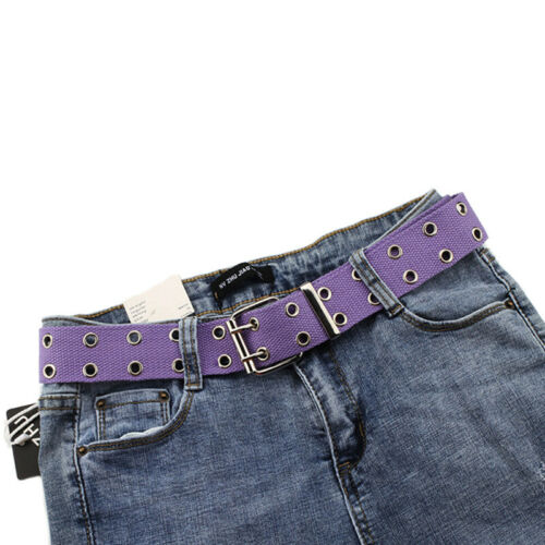 Women Studded Grommet Hole 2 Row Pin Buckle Canvas Nylon Belt Waistband 130cm