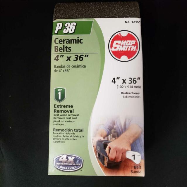 SHOPSMITH 12155 120 Grit Ceramic Sanding Belts 4 x 36 1 Pack