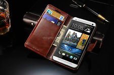 Classic Leather Stand Flip Front Back Cover Case Wallet Card for HTC One M7