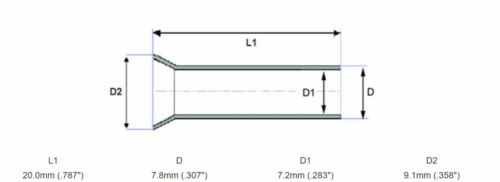 10pcs 4 Gauge Non-Insulated Wire Ferrule Amplifier Ferrules 4 AWG Amp Tin