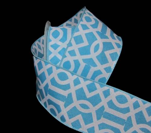 "25 Feet Blue White Art Deco Design Wired Ribbon 2 1//2/""W"