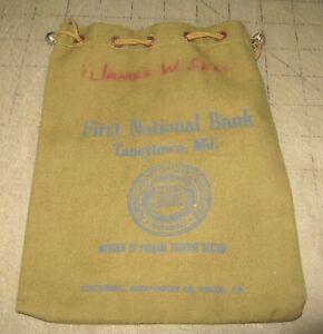 "Vintage FIRST NATIONAL BANK 8"" Green Drawstring Coin/Deposit Bag - Taneytown, MD"