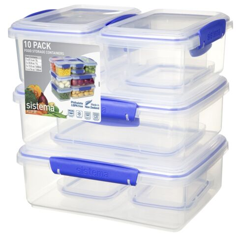 Pack of 10 Sistema KLIP IT Container Blue Clips