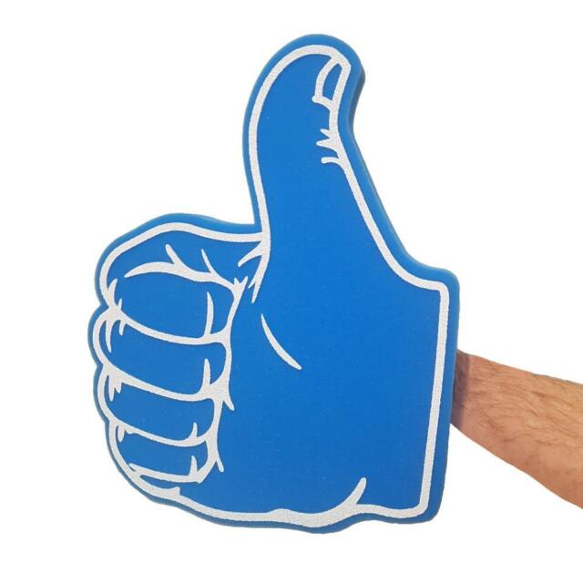 TV AUDIENCE LARGE FACEBOOK THUMB PROP THUMBS UP THUMBS DOWN BLUE BIG FOAM HAND