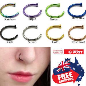 1pc Surgical Steel Nose Stud Ring Hoop 16g 18g 20g Gold Black Pvd Body Piercing Ebay