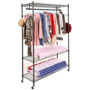 Portable Clothes Closet Wardrobe /Home Rack Storage Organizer Steel Shelves/