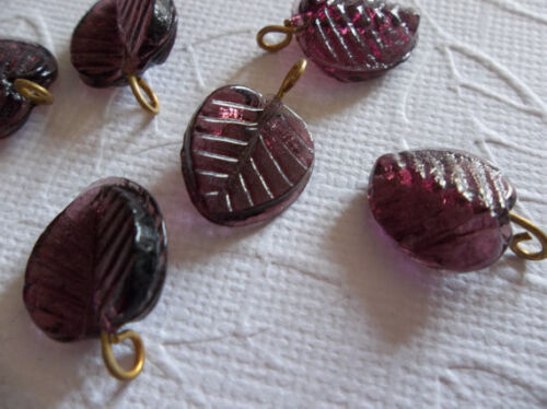 12 Purple Amethyst Leaf Charms Beads Leaves with Brass Loops 13mm X 12mm