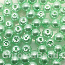 6mm Glass faux Pearls - Mint Green - 100 round pearl beads, jewellery making