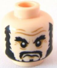 LEGO - Minifig, Head Beard Black, Bushy Eyebrows, & Moustache - (Blackbeard)