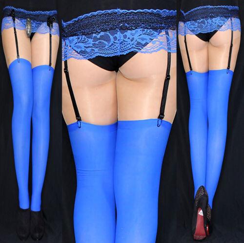 4 Paar warme dicke Strapsstrümpfe royalblau blau Strapse 67 den S-XL KLASSIKER!