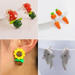384def3a9 New Handmade Polymer Clay Cute Cartoon Shark Earrings Stud DIY Women ...