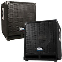 Pair Of Powered 12 Pro Audio Subwoofer Cabinets - Pa / Band / Dj / Kj Subs on sale