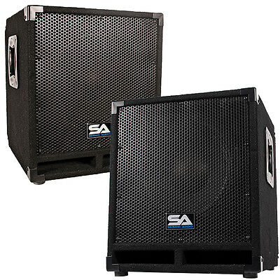 """Pair of Powered 12"""" Pro Audio Subwoofer Cabinets - PA / Band / DJ / KJ Subs"""