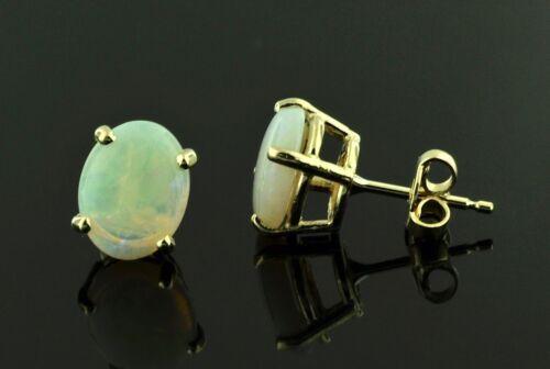 14k Solid Yellow Gold Stud AAA Oval Australian Opal Earring