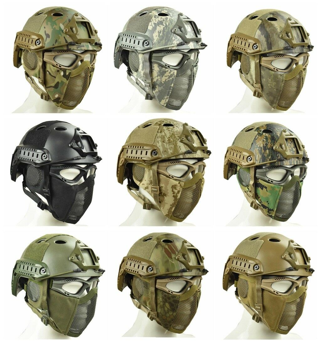 Army Tactical Fast Helmet Adjustable Predect ear Half Face Mesh Mask Combination